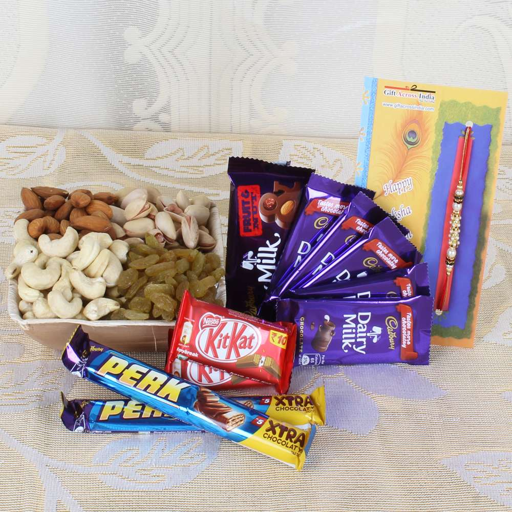 Assorted Dry Furits and Chocolates with Rakhi