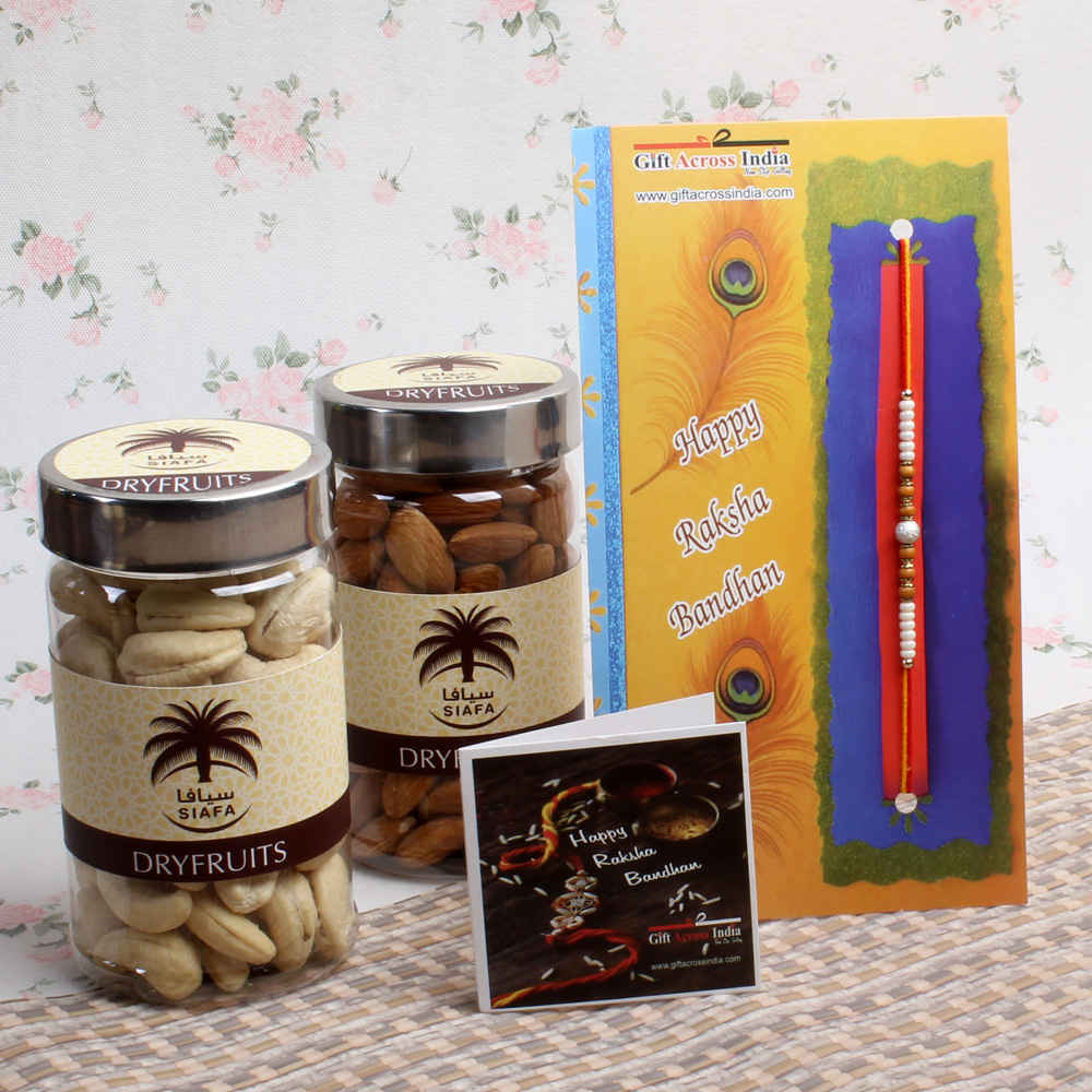 Attractive Rakhi with Dry Fruits for Brother