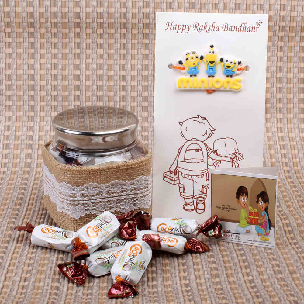 Coconut Boost Toffees with Minions Kids Rakhi