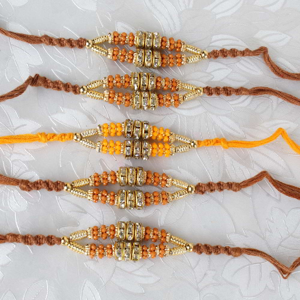 Collection of Five Diamond Rings and Golden Strings Rakhi