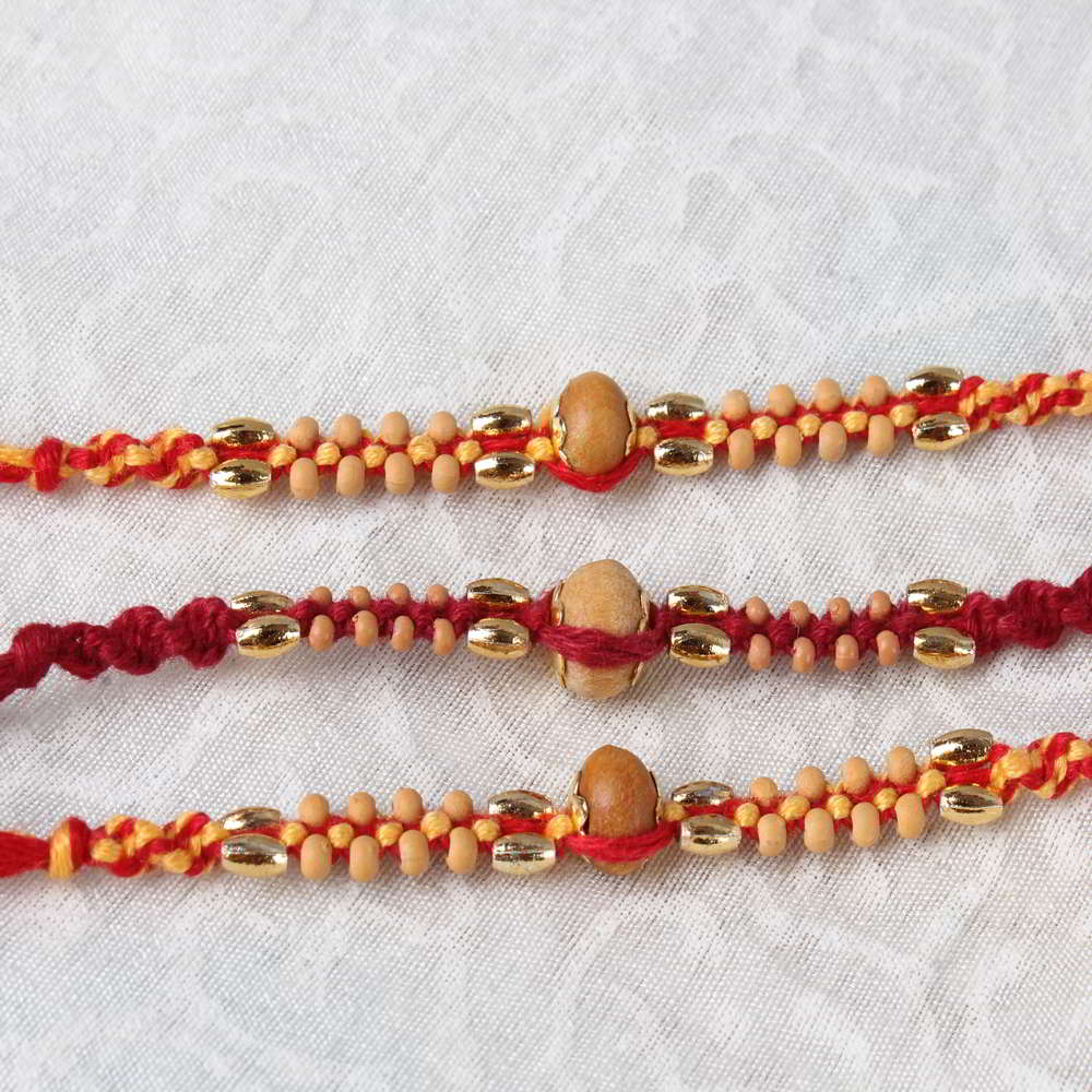 Combo of Three Wooden Beads Rakhis
