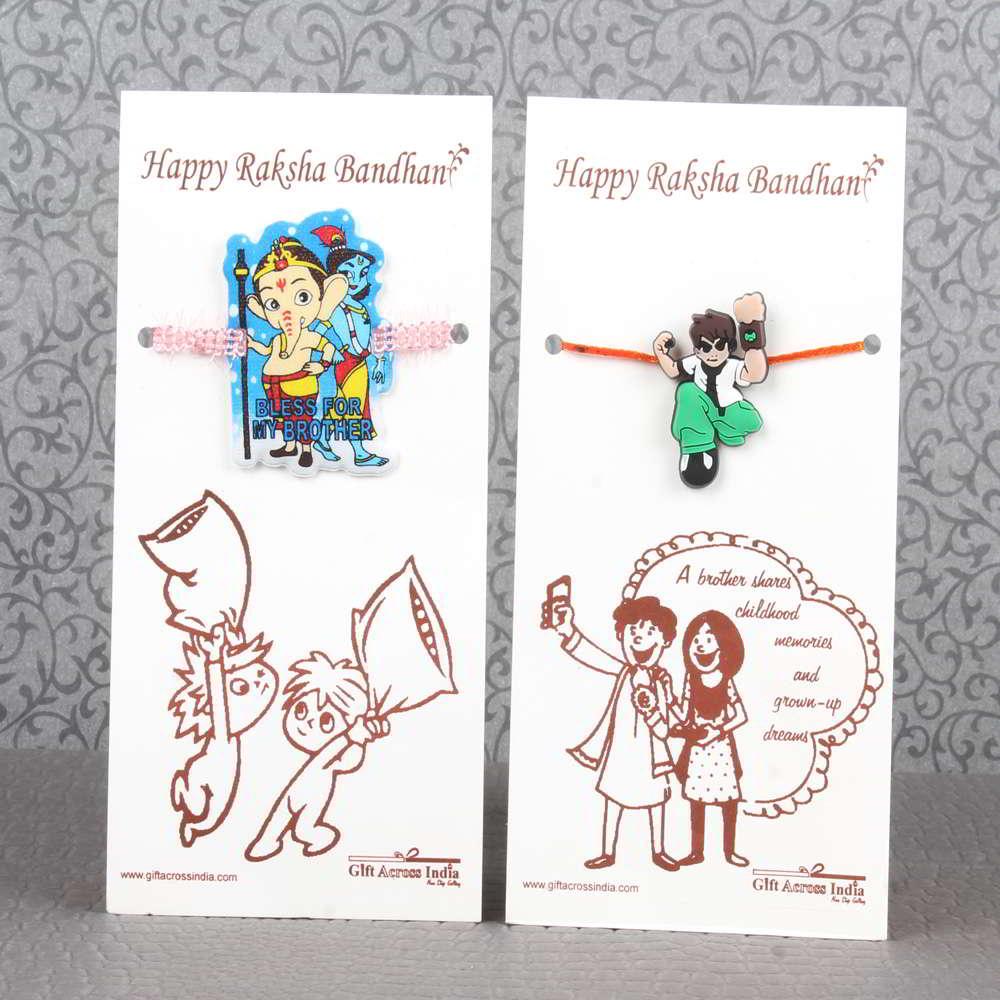 Combo of Two Cartoon Characters Rakhi for Kids - UAE