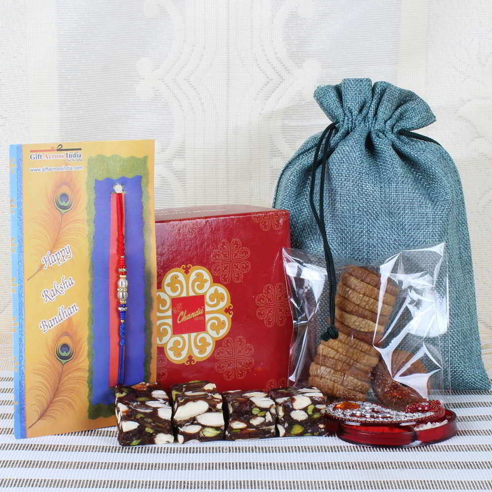 Delicious Sweets and Fig Dry Fruit with Stylish Rakhi-USA