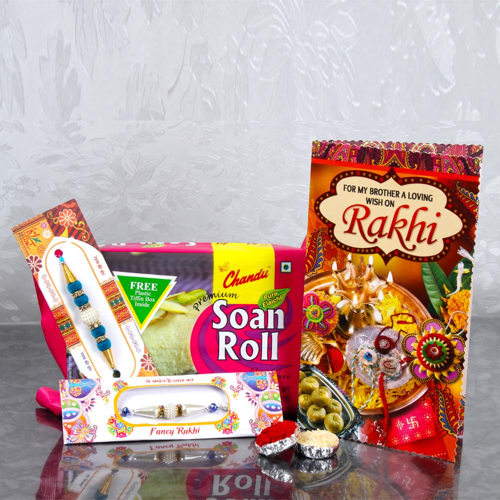 Rakhi buy designer pearls two rakhis with soan roll and rakhi designer pearls two rakhis with soan roll and rakhi greeting card kristyandbryce Choice Image