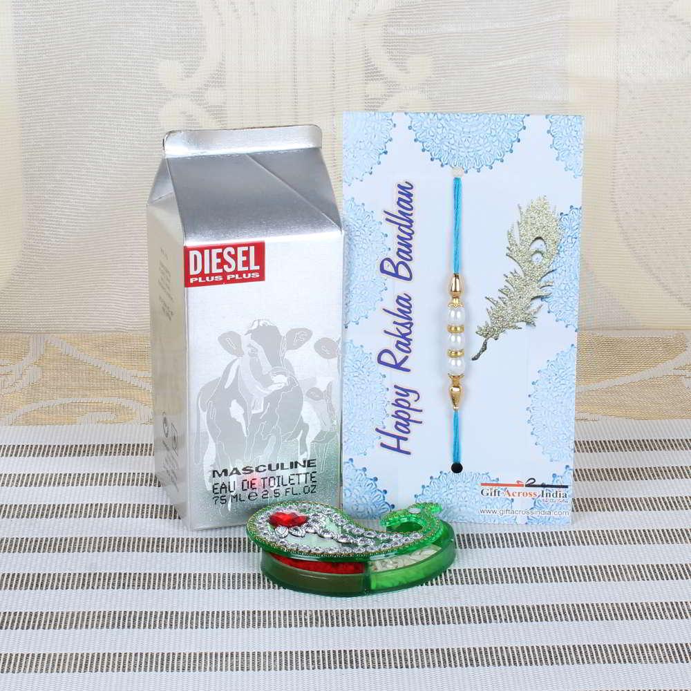 Diesel Perfume and Pearl Rakhi Combo