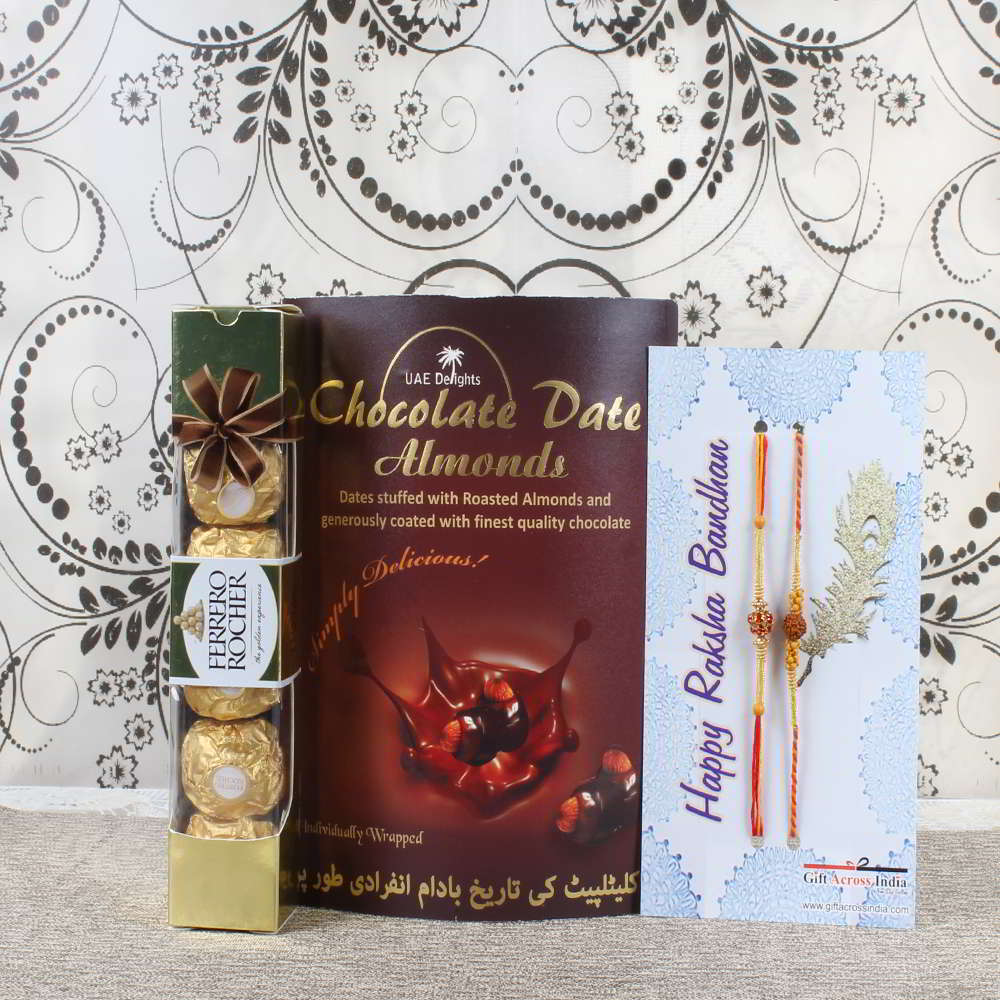 Double Rakhi with Dates Almond and Ferrero Rocher Chocolate Pack