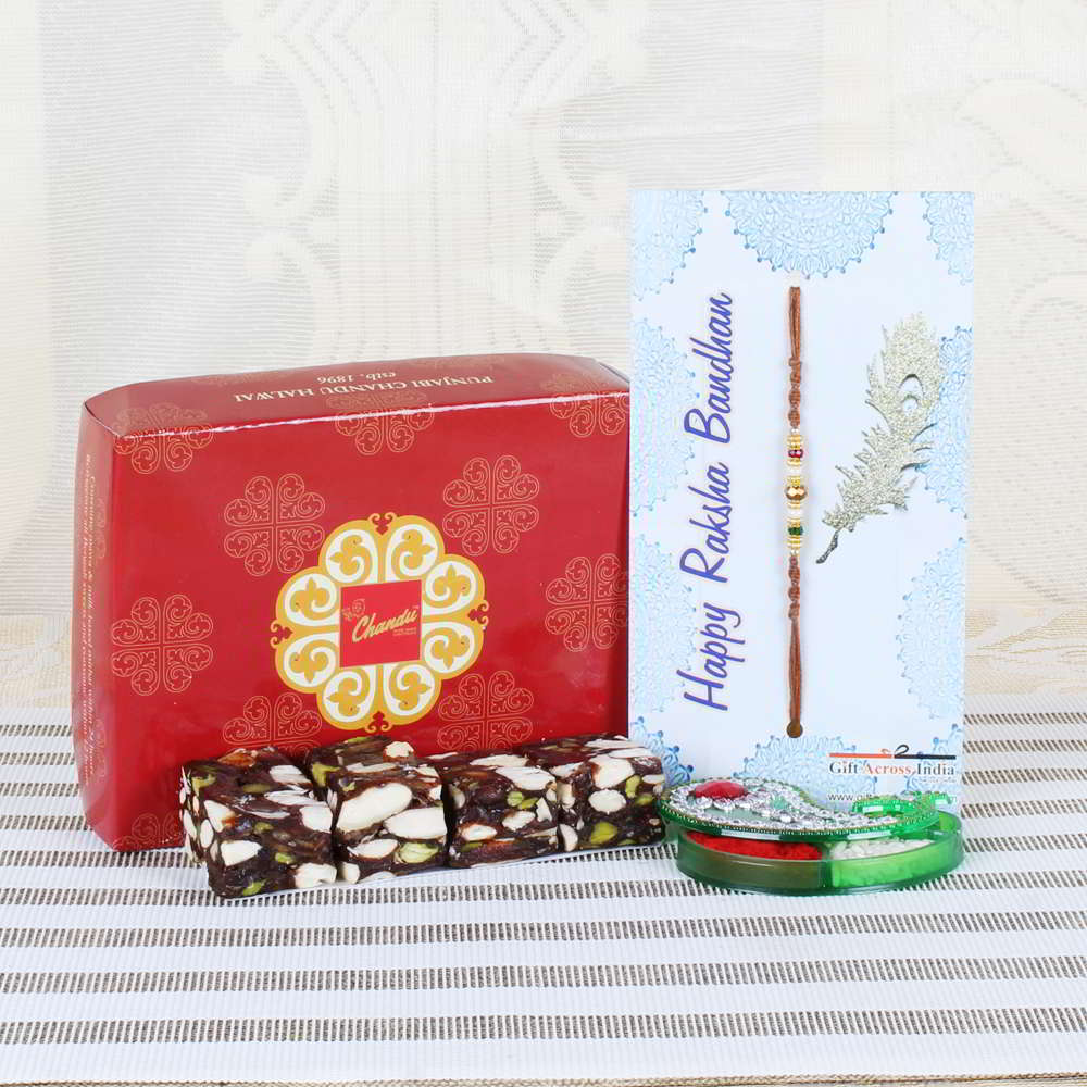 Dry Fruits Sweets with Fancy Beads Rakhi-USA