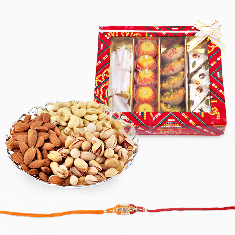 Dryfruits and Assorted Sweets with Rakhi