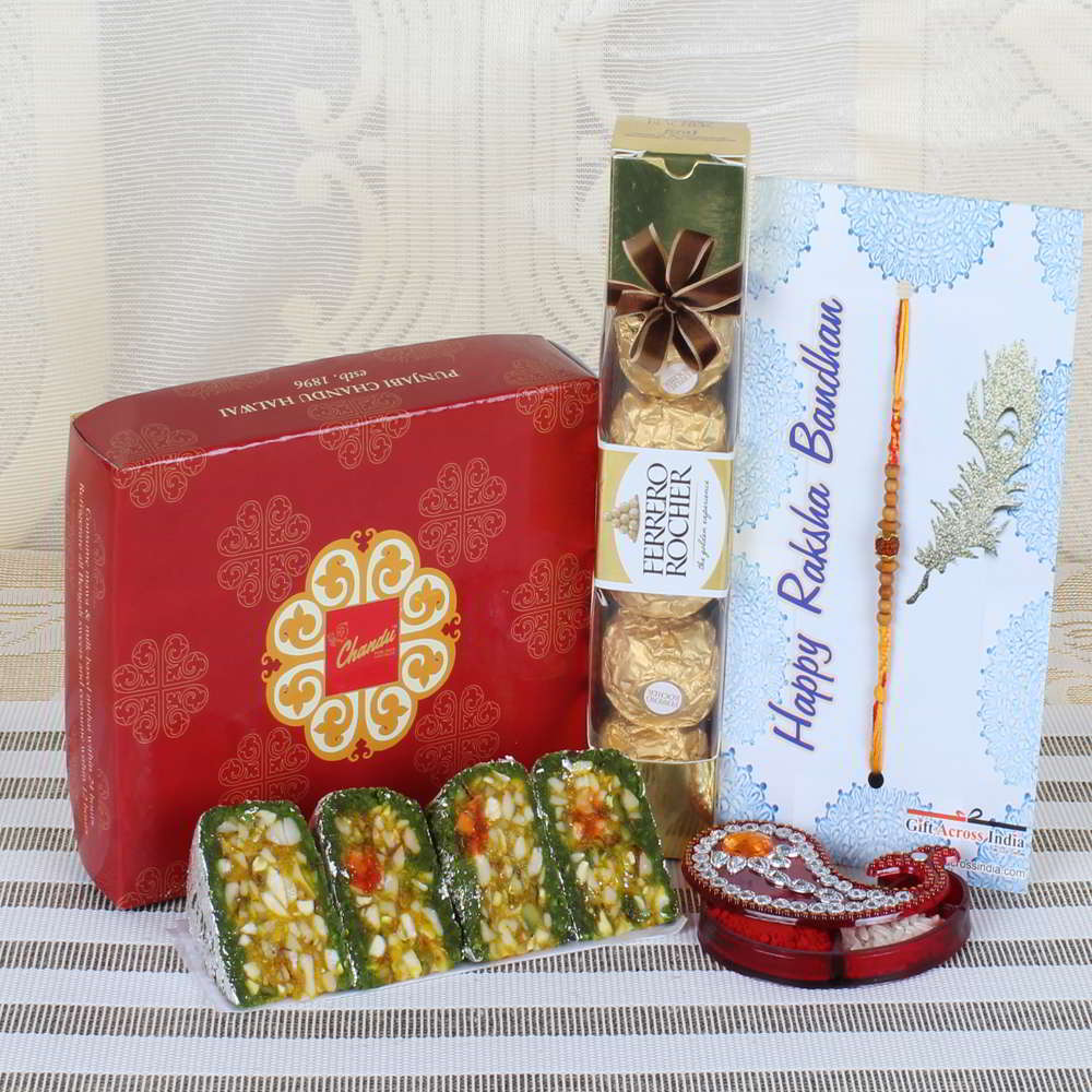 Ferrero Rocher Chocolate with Dry Fruit Cakes Sweets and Charming Rakhi-USA