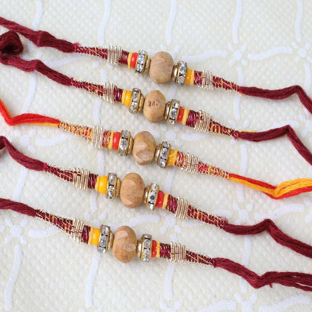 Five Sandalwood Thread Rakhi Online