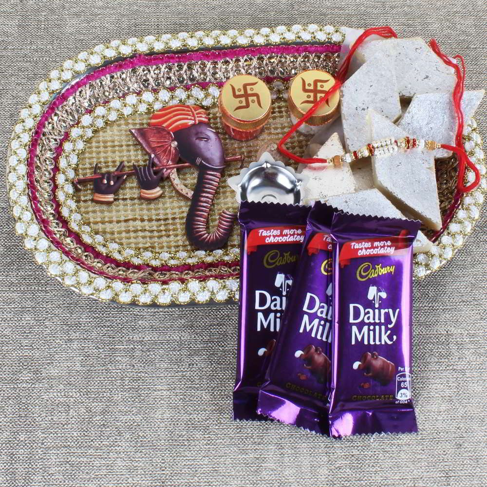 Ganesha Rakhi Puja Thali with Sweets and Chocolate - Canada
