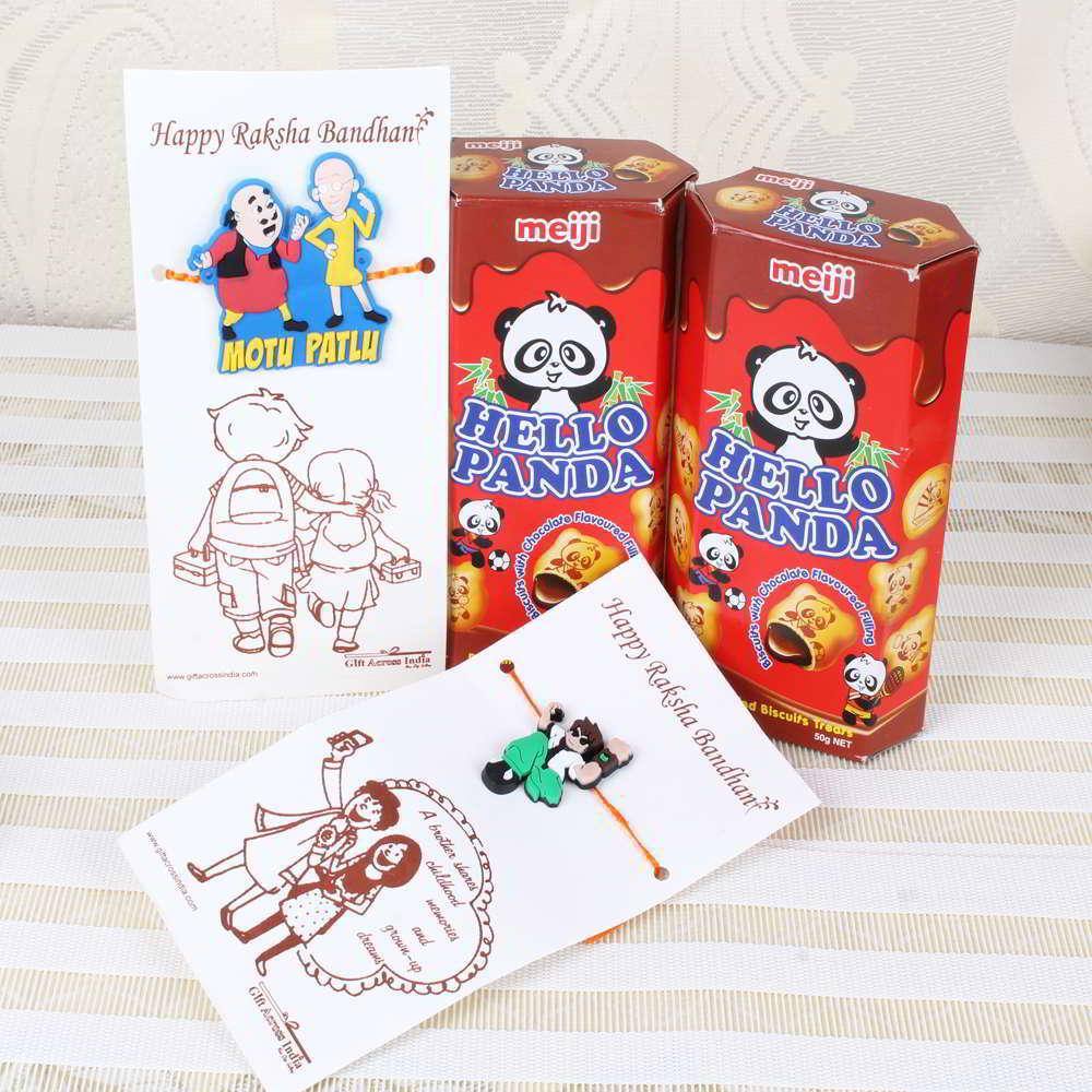 Hello Panda Chocolate Biscuits with Ben 10 Rakhi and Motu Patlu Rakhi-Worldwide