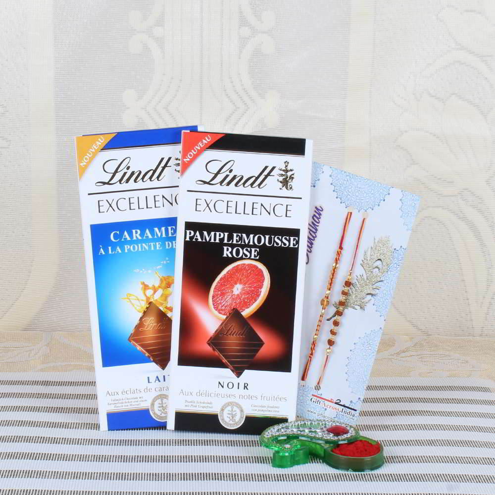 Lindt Excellence Chocolates with Two Stunning Rakhi Collection