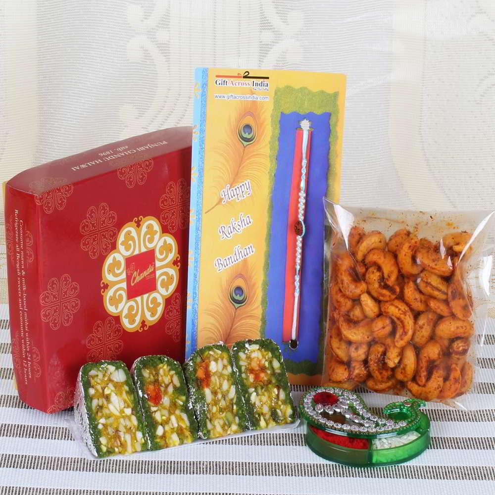 Masala Cashew with Dry Fruit Cakes Sweets and Rudraksha Rakhi-Worldwide