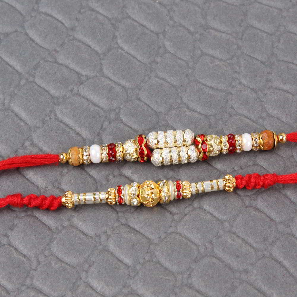 Pack of Two Shining Beads Rakhi