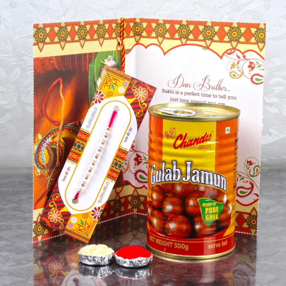 Rakhi buy rakhi sweet hamper of gulab jamun and rakhi greeting card rakhi sweet hamper of gulab jamun and rakhi greeting card kristyandbryce Choice Image