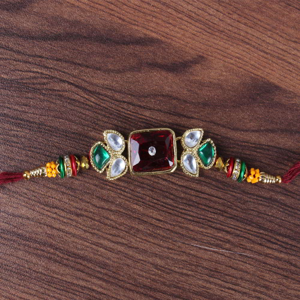 Royal Multicolor Designer Kundan Rakhi-Worldwide