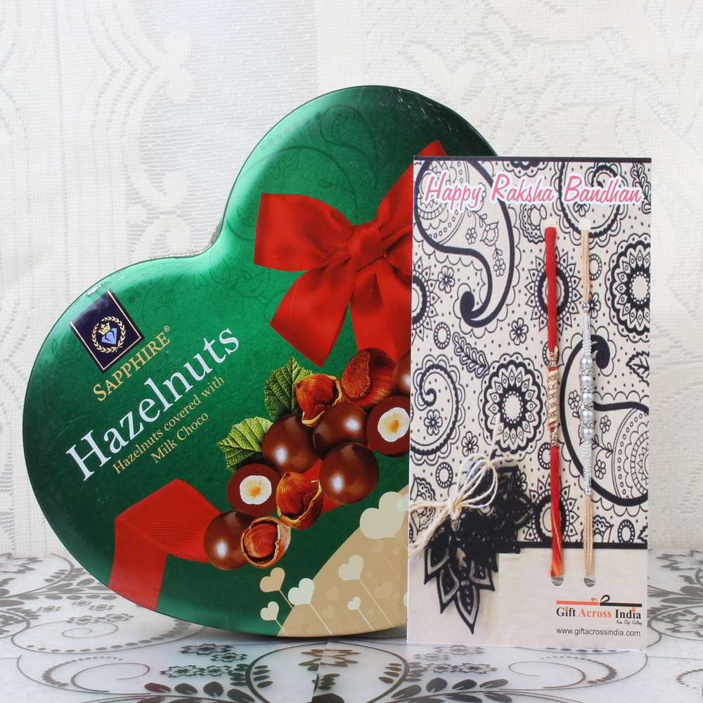 Sapphire Hazelnuts Chocolate Pack with Pair of Rakhis