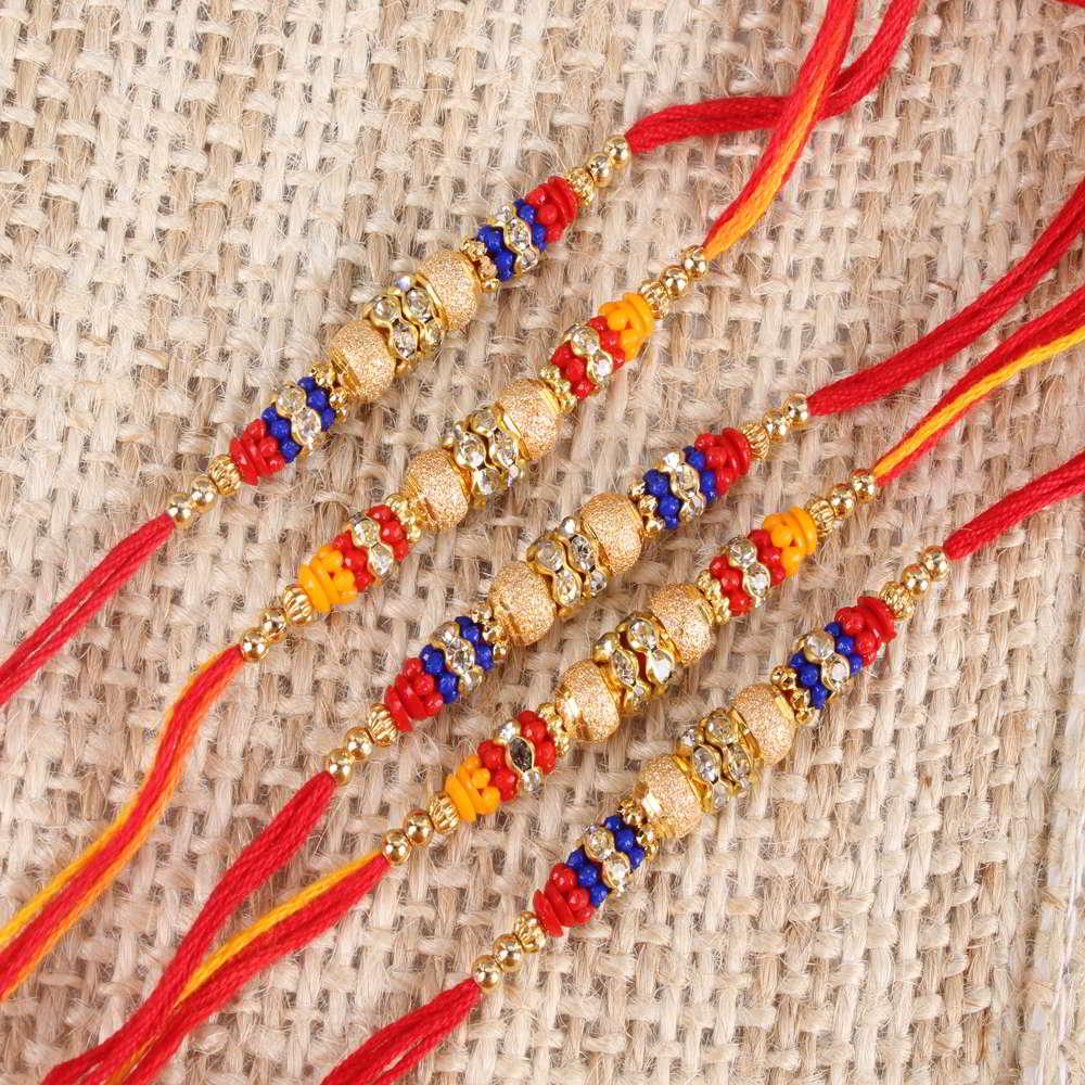 Set of Five Multi Color Beads Rakhi