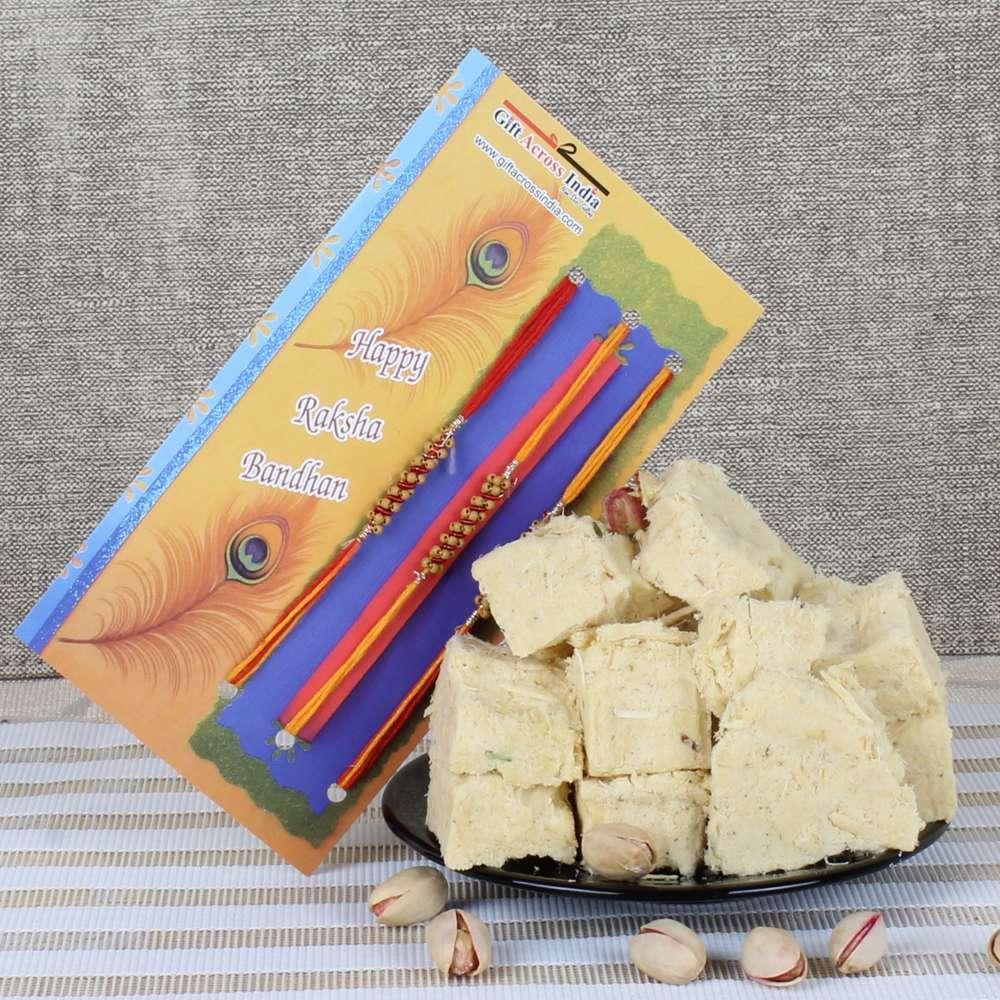 Set of Three Rakhi with 500 Gms Sweets