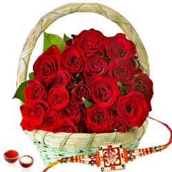 Basket of Red Roses and Rakhi