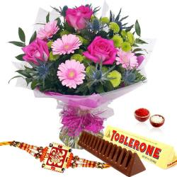 Bouquet of Flowers with Rakhi and Toblerone Chocolate