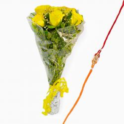 Bouquet of Yellow Roses and Rakhi