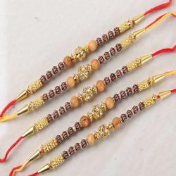 Bundle of Five Designer Wooden Diamond Studded Rakhi