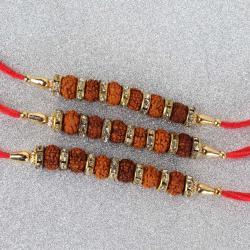 Combo of 3 Rudraksha Diamond Rakhi