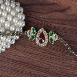 Diamond Studded Kundan Rakhi - UK
