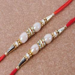 Ellipse Shape Pearl Double Rakhi - UAE
