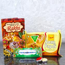 Exclusive Color Beads Rakhi with Soan Papdi and Rakhi Card