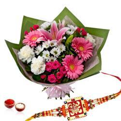 Floral Bouquet with Rakhi