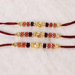 Gracious Three Rakhi of Colorful Designer Beads