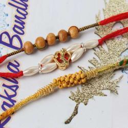 Impressive Om and Wooden Beads Rakhi