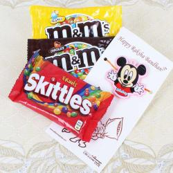 Micky Mouse Rakhi with MnM and Skittles Chocolates Packs-USA
