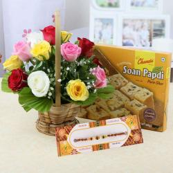 Mix Roses with Soan Papdi and Rakhi