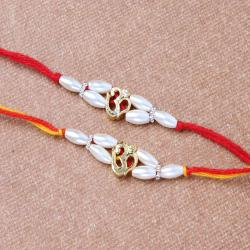 Om Pearl Beads Twin Rakhi