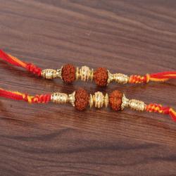 Pair of Two Golden Beads with Rudraksha Rakhi