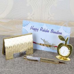 Rakhi Gift of Golden Apple Shape Table Clock with Card Holder and Crystal Ball Pen