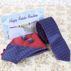 Rakhi Gift of Polka Dots Tie Cufflinks and Handkerchief - Australia