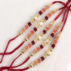 Royal Five Set of Colorful Designer Beads Rakhi