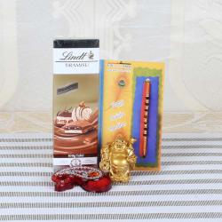 Rudraksha Rakhi with Lindt Tiramisu Chocolate and Laughing Buddha Combo