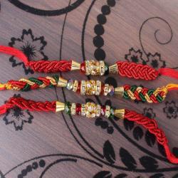 Set of 3 Zardosi Motif Rakhi
