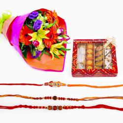 Set of Rakhi with Flowers and Sweets