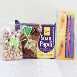 Soan Papdi and Pistachio with Pair of Rakhis