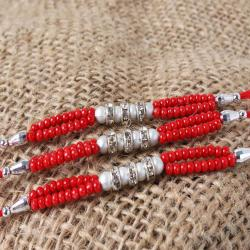 Spectacular Three Set of Colorful Beads Rakhis