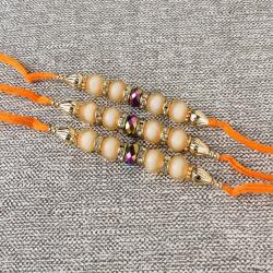 Three Crystal Shine Bead with Colorful Pearls Finest Rakhi