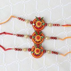 Three Om Floral and Beads Rakhi