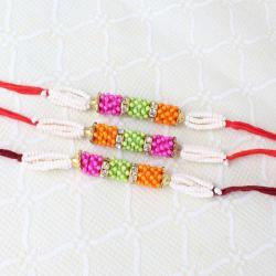 Triple Colorful Moti Rakhi